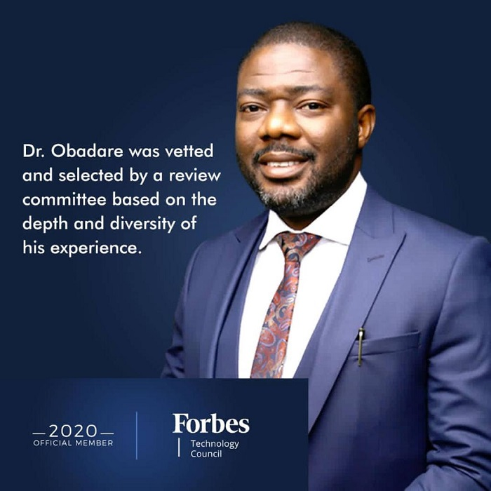 Co-founder of Digital Encode, Dr. Obadare, accepted into Forbes Technology Council